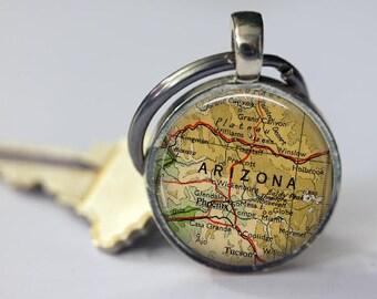 Arizona Keychain for him, Phoenix key chains for women, Flagstaff map keychain, AZ keychain men, Phoenix keychain for dad, Arizona key chain