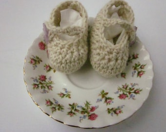 Mary Jane Crocheted Baby Booties with Purple Flower Button