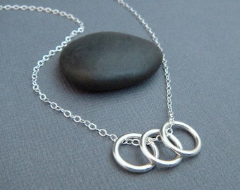 """three circle necklace. small everyday jewelry. eternity ring trio. simple sterling silver necklace. geometric minimalist modern pendant 3/8"""""""