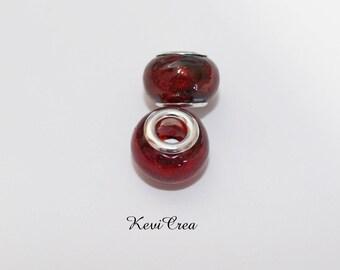 1 x Pearl red Murano Lampwork Glass Pandora style