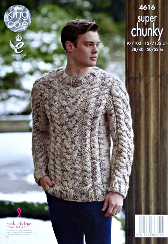Mens Knitting Pattern K4616 Mens Round Neck Long Sleeve Cable