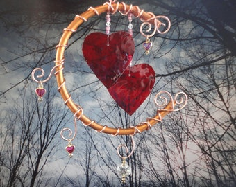Stained Glass Heart Wind Chime, Copper Moon, Anniversary, Home Decor, Window Hanging, Wedding, Garden Decor, I Love You to the Moon and Back