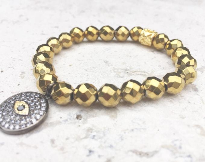 Hematite Bracelet - Protective Evile Eye Charm- 8mm Faceted Hematite- Stackable Bracelet- Grounding Gemstone- Hematite Jewlery- Gift for Her