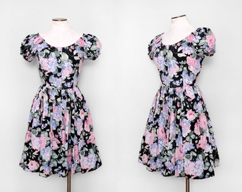 Vintage 80s / Floral Party Dress / Small Medium