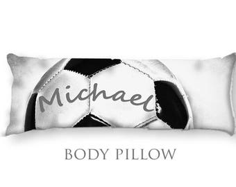 Personalized Soccer Body Pillow-Soccer Bed Pillow-Soccer Ball Body Pillow Cover-Large Pillow Cover-Sports Pillow Cover-Soccer Pillow Cover