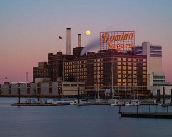 Baltimore Skyline, Domino Sugar Golden Hour Moonrise,  Fine Art Color Photograph, Baltimore Art