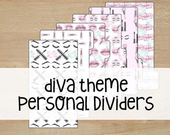 Printable   Planner Dividers   Personal Size   Diva  
