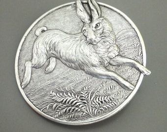 Vintage Brooch - Rabbit jewelry - Silver Brooch - Bunny Brooch - Statement Jewelry - handmade jewelry