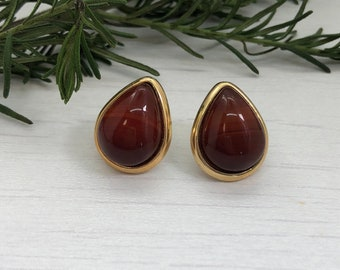 Tiger's Eye teardrop earrings,tiger's eye post earrings, gold teardrop tiger's eye earrings, gift for mom, gift for her, bff gift, fearless