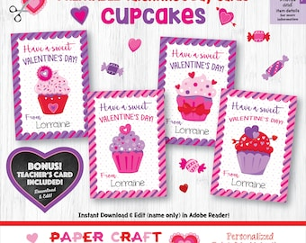 Cupcake Valentine Cards | Printable Classroom Valentines | Classroom Exchange Cards | By Paper Craft Valentines