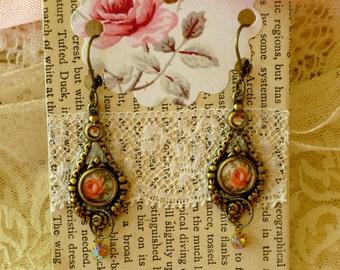 Rose and Crystal Earrings