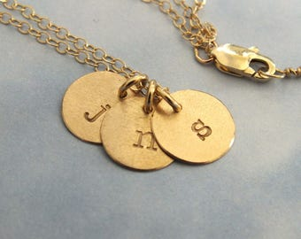 "14k Gold 3 Initial Necklace, 14k 9mm Initial Necklace, 3/8"" Disc Tiny 14k Gold Charm Necklace, 1.5mm Solid Gold Cable Chain"