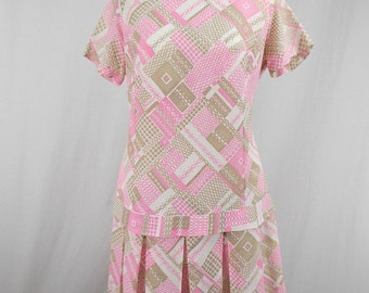 Pink and Taupe Scooter Dress with Drop Waist Large XL