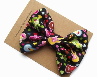 Rock and Roll Big Hair Bows, Neon Pink Guitars, Hair Bows for Teens, Music Lover Gift