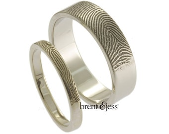 Custom Fingerprint Wedding Bands Set with Tip Prints on the Outside - Sterling Silver Fingerprint Rings