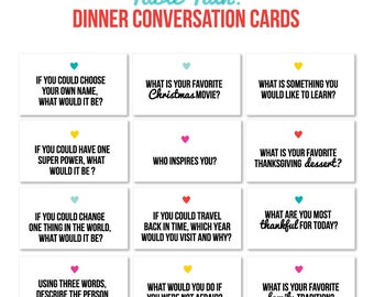 PRINTABLE Mini Table Talk Cards, Family Discussion, Conversation Starter, Questions for Kids, Digital, Instant Download, Printable
