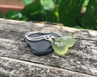 Simple Prehnite Gem Sterling Silver Dangle Earrings - Teardrop Faceted Spring Green Gemstone - Shepherds Hooks - Leverback Hooks