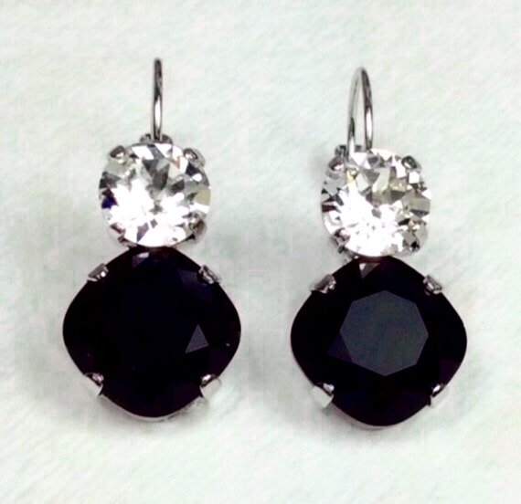Swarovski Crystal 12MM/8.5mm Drop Earrings - Jet and Crystal Clear - OR Choose Custom Colors -  Classic Drama -  FREE SHIPPING