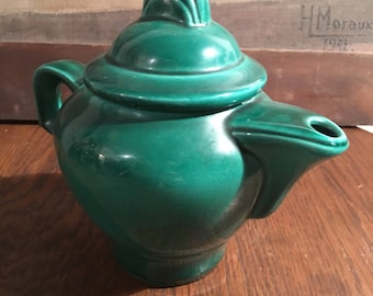 Green ceramic coffee pot teapot and lid