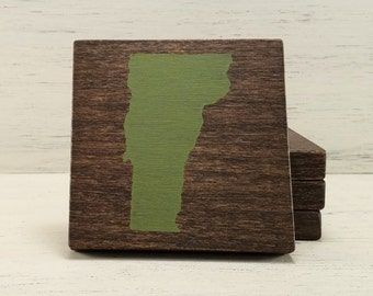 Pick State, Pick Color, Vermont State Wood Coasters, Set of 4, Wedding Gift, Housewarming Gift