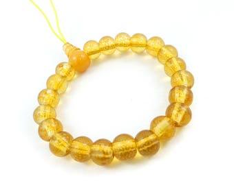 Vintage Orange Bead Bracelet, Glass, Stretch Elastic, STW84