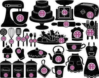 Kitchen Circle Monogram cutting files and clipart SVG JPG EPS papercut paper cut heat transfer Digital Graphics template iron on shirt  393C