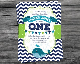 Nautical Whale Boy Birthday Invitation