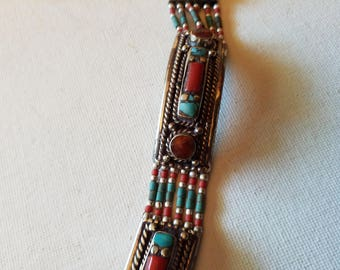 Southwestern bracelet, no markings, turquoise and coral colors