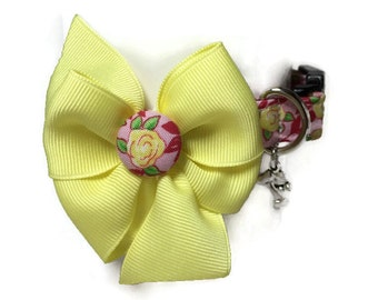 Yellow and Pink Vintage Rose Dog Collar size Small