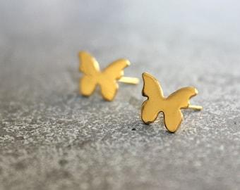 Gold stud earrings, Butterfly studs, gold butterfly earrings, butterfly stud earrings, butterfly jewelry