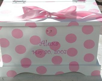Baby Keepsake Box Baby Keepsake Chest for girl Pink Polka Dots  Memory Box hand painted personalized baby gift
