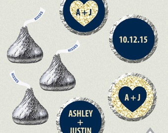 Printable Hershey Kiss Labels, Wedding Kiss Stickers, Navy and Gold Kisses, Blue and Gold Wedding, Wedding Kiss Favor, Hershey Kiss Stickers