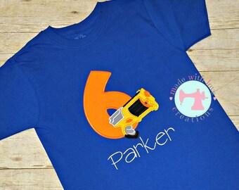 Dart Gun Birthday Shirt-Birthday Shirt-Dart Gun Shirt-Boys Dart Gun Birthday Party-Dart Gun Birthday- Numbers 1-9