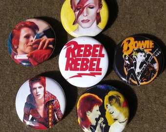 "David Bowie a 6-1.25"" set Pin back Back Button Ziggy Stardust, Mick Ronson rebel rebel, Magnet"