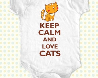 Custom Keep Calm and Love Cats kids one-piece or Shirt - Printed on Baby one-piece, Toddler, Youth shirts