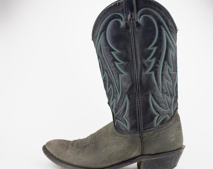 80s Vintage Black Cowboy Boots | Laredo Western Boots | Black and Grey Leather | Men's 9.5 D UK 9 Euro 42 - 43
