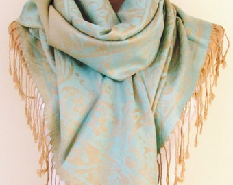 Aqua Blue Beige  Pashmina Scarf Oversize Scarf Fall Winter Scarf Large Scarf Women Fashion Accessories Holiday Christmas Gift Ideas For Her