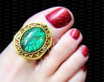 Emerald Green Toe Ring, Big Toe Ring, Gold Toe Ring, Gold Micro Beads, Cleopatra, Egyptian, Gold Toe Ring, Gold Ring, Stretch Bead Toe Ring