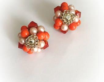 Vintage Orange Plastic Bead  Faux Pearls Cluster Earrings Clip On Japan