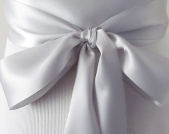 Shell Gray Bridal Sash / Double Face Sash  Ribbon /  Ribbon Sash /  DIY sash