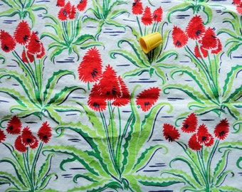 green and red border prin vintage full feedsack fabric