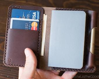 "Small notebook wallet ""Park Sloper Junior"" fits Fisher Space Pen Bullet - brown chromexcel"