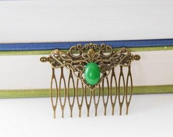 Emerald Green Hair Clip Emerald Hair Comb Gift Under 20 Decorative Hair Clip Victorian Hair Accessory Austen Hair Clip Victorian Hair Slide