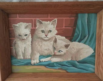 Vintage Paint by Number White Cats, Hard Wood Frame