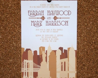 Set of 25 / Custom New York City Skyline Invitation / Taupe, Tan, Neutral / Wedding / Event / Birthday / Bachelorette Party