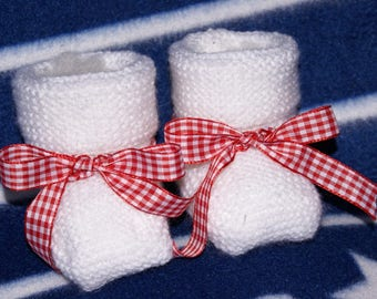 red gingham Ribbon and white baby Bootie