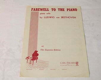 Vintage Ludwig van Beethoven Farewell to the Piano music sheet