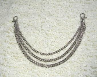 Pants chain 3 row silver metal