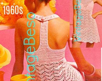 Dress Crochet Pattern • INSTANT DOWNlOAD • PdF Pattern • Vintage 1960s Party Dress Crochet Pattern • Summer Cover Up Crochet Pattern Sweet