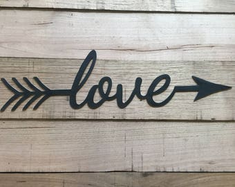 Cursive love arrow wall hanging